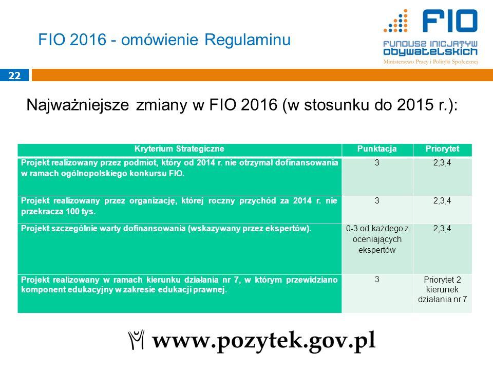 22 Najważniejsze zmiany w FIO 2016 (w stosunku do 2015 r.): FIO 2016 - omówienie Regulaminu Kryterium StrategicznePunktacjaPriorytet Projekt realizowa