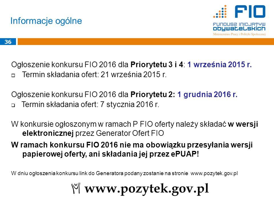 Informacje ogólne 36 Ogłoszenie konkursu FIO 2016 dla Priorytetu 3 i 4: 1 września 2015 r.  Termin składania ofert: 21 września 2015 r. Ogłoszenie ko