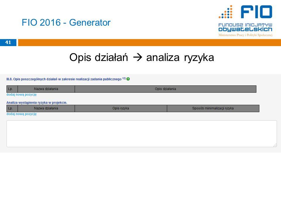 FIO 2016 - Generator Opis działań  analiza ryzyka 41