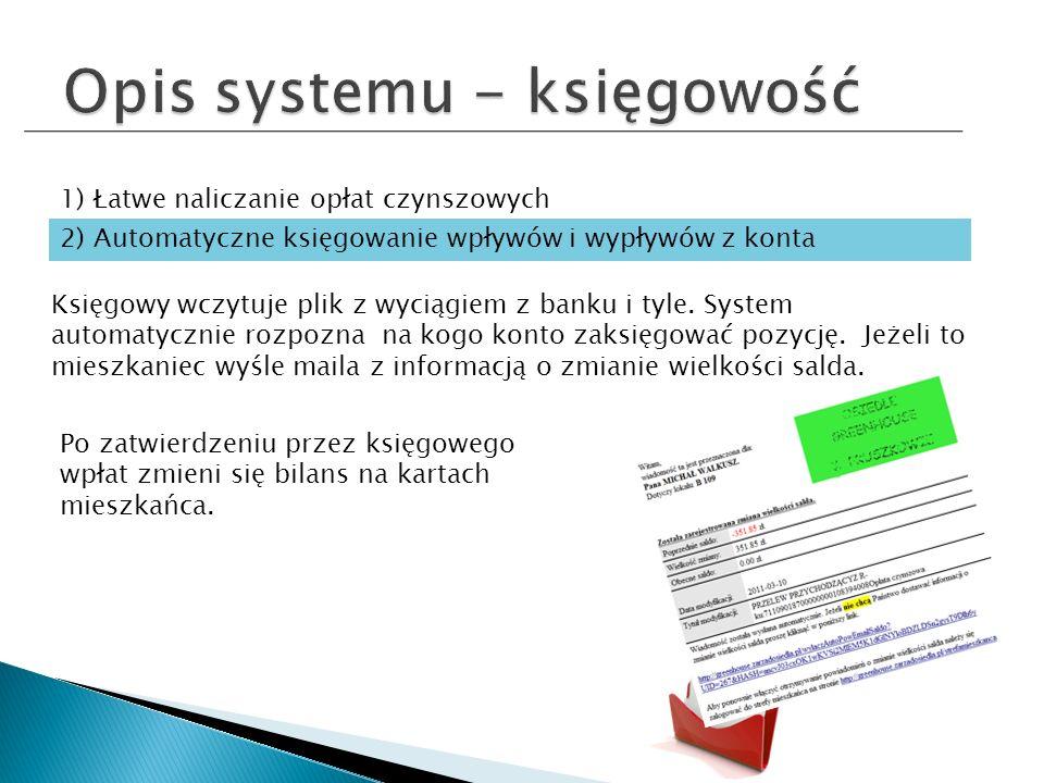 1) Łatwe naliczanie opłat czynszowych 2) Automatyczne księgowanie wpływów i wypływów z konta Księgowy wczytuje plik z wyciągiem z banku i tyle.