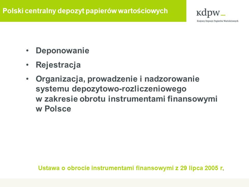 Deponowanie Rejestracja Organizacja, prowadzenie i nadzorowanie systemu depozytowo-rozliczeniowego w zakresie obrotu instrumentami finansowymi w Polsce.