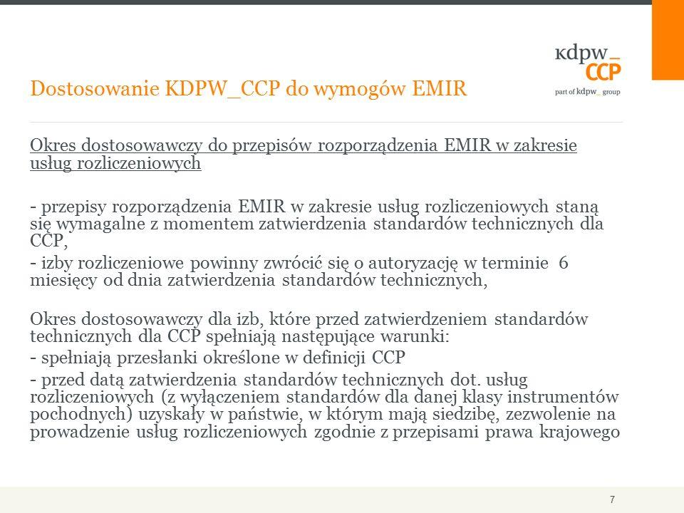 Okres dostosowawczy do przepisów rozporządzenia EMIR w zakresie usług rozliczeniowych - przepisy rozporządzenia EMIR w zakresie usług rozliczeniowych