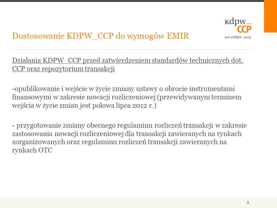 Działania KDPW_CCP przed zatwierdzeniem standardów technicznych dot. CCP oraz repozytorium transakcji -opublikowanie i wejście w życie zmiany ustawy o