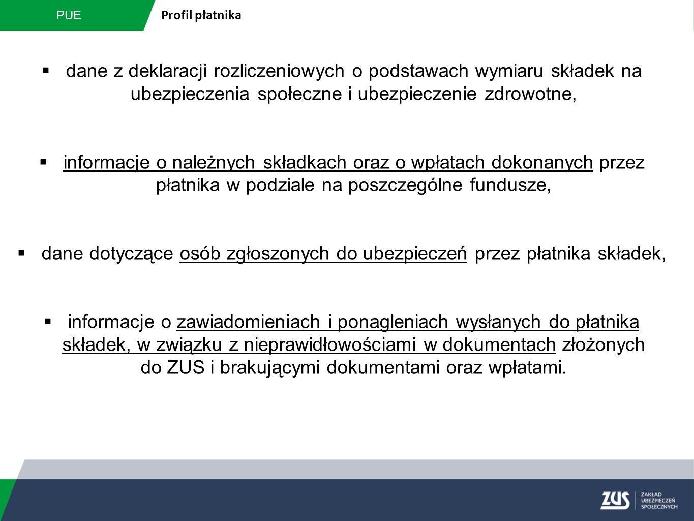 PUE Profil płatnika  dane z deklaracji rozliczeniowych o podstawach wymiaru składek na ubezpieczenia społeczne i ubezpieczenie zdrowotne,  informacj