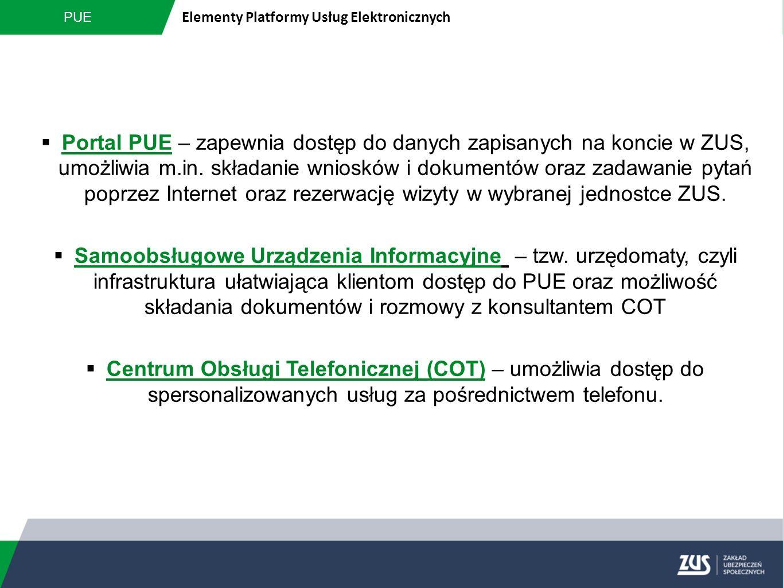PUE Elementy Platformy Usług Elektronicznych  Portal PUE – zapewnia dostęp do danych zapisanych na koncie w ZUS, umożliwia m.in. składanie wniosków i
