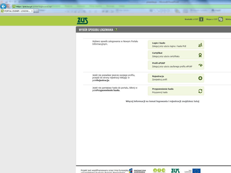 Profile użytkowników:  profil ogólny (funkcje ogólne po zalogowaniu),  profil płatnika + aplikacja ePłatnik + ePłatności,  profil ubezpieczonego,  profil lekarza  profil świadczeniobiorcy Elementy PUE