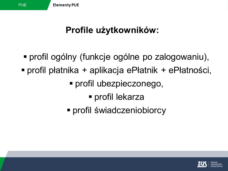 Profile użytkowników:  profil ogólny (funkcje ogólne po zalogowaniu),  profil płatnika + aplikacja ePłatnik + ePłatności,  profil ubezpieczonego, 