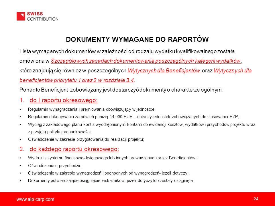 www.alp-carp.com 24 DOKUMENTY WYMAGANE DO RAPORTÓW Lista wymaganych dokumentów w zależności od rodzaju wydatku kwalifikowalnego została omówiona w Szc