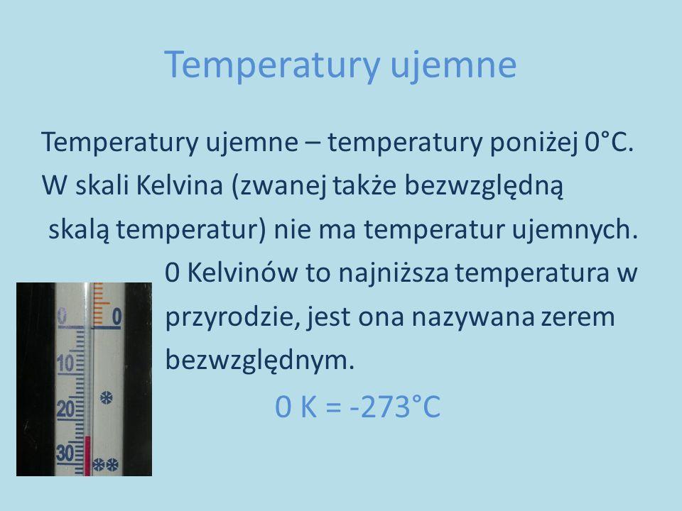 Temperatury ujemne Temperatury ujemne – temperatury poniżej 0°C.