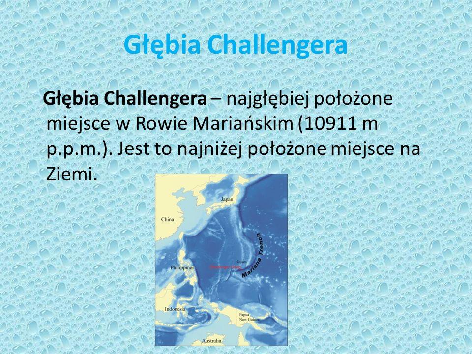 Głębia Challengera Głębia Challengera – najgłębiej położone miejsce w Rowie Mariańskim (10911 m p.p.m.).