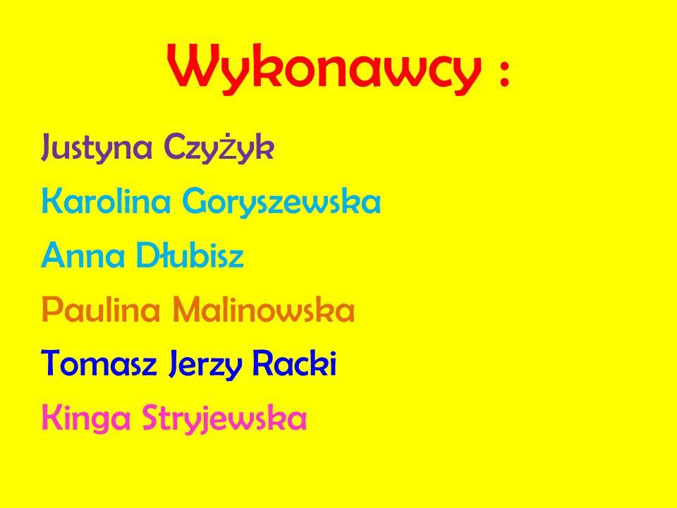 Wykonawcy : Justyna Czy ż yk Karolina Goryszewska Anna Dłubisz Paulina Malinowska Tomasz Jerzy Racki Kinga Stryjewska