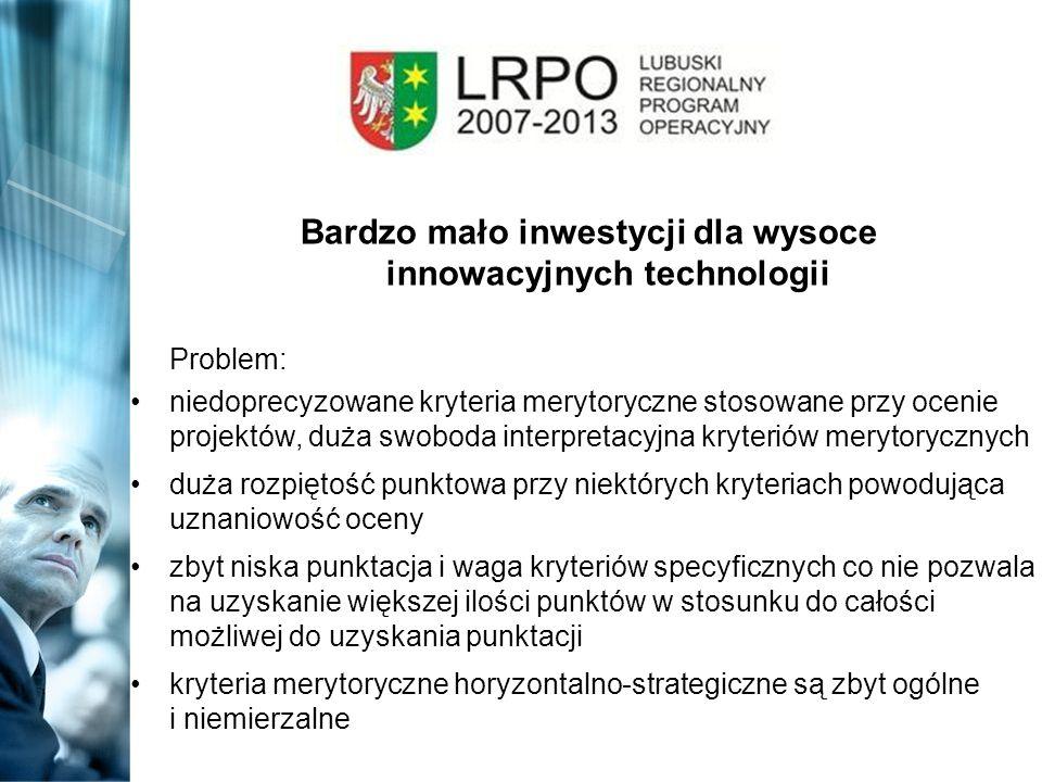 Bardzo mało inwestycji dla wysoce innowacyjnych technologii Problem: niedoprecyzowane kryteria merytoryczne stosowane przy ocenie projektów, duża swob