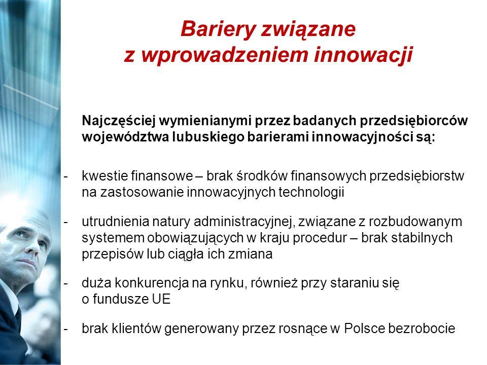 Bariery związane z wprowadzeniem innowacji Najczęściej wymienianymi przez badanych przedsiębiorców województwa lubuskiego barierami innowacyjności są: