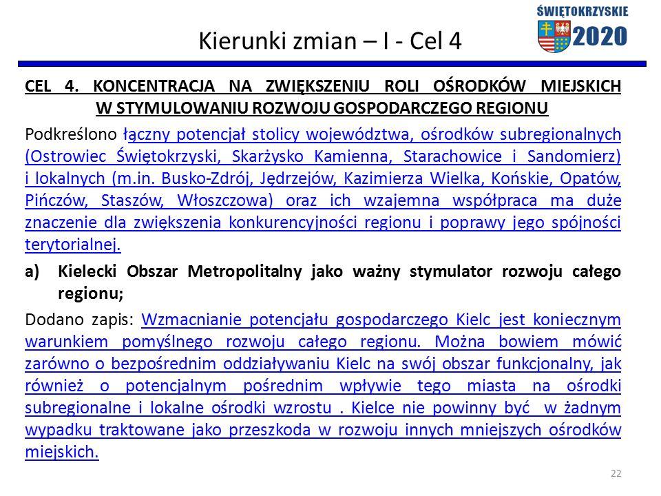 Kierunki zmian – I - Cel 4 CEL 4.