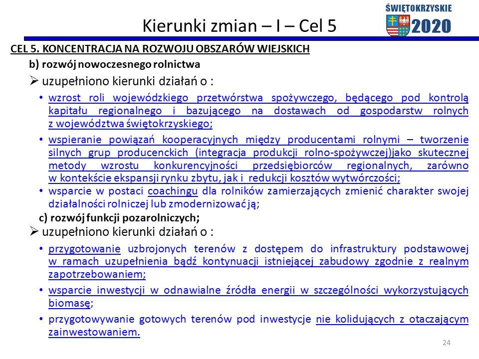 Kierunki zmian – I – Cel 5 CEL 5.