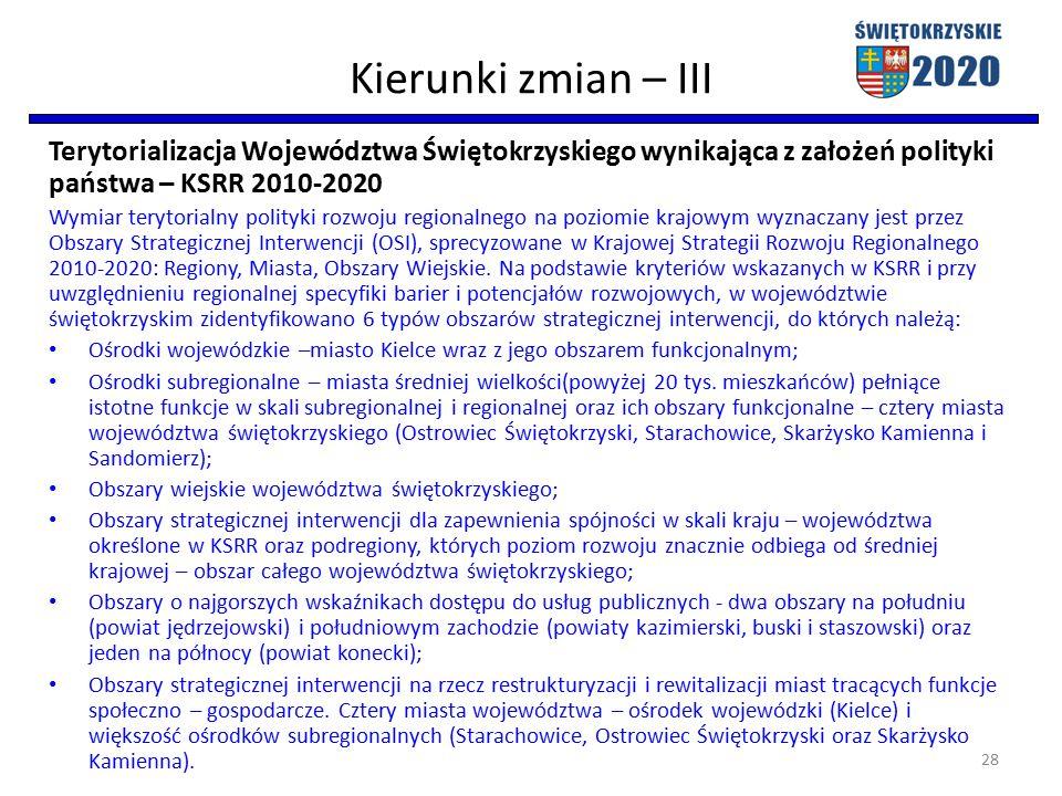Kierunki zmian – III Terytorializacja Województwa Świętokrzyskiego wynikająca z założeń polityki państwa – KSRR 2010-2020 Wymiar terytorialny polityki rozwoju regionalnego na poziomie krajowym wyznaczany jest przez Obszary Strategicznej Interwencji (OSI), sprecyzowane w Krajowej Strategii Rozwoju Regionalnego 2010-2020: Regiony, Miasta, Obszary Wiejskie.