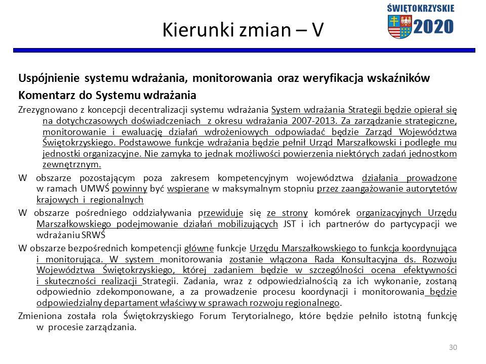 Kierunki zmian – V Uspójnienie systemu wdrażania, monitorowania oraz weryfikacja wskaźników Komentarz do Systemu wdrażania Zrezygnowano z koncepcji decentralizacji systemu wdrażania System wdrażania Strategii będzie opierał się na dotychczasowych doświadczeniach z okresu wdrażania 2007-2013.