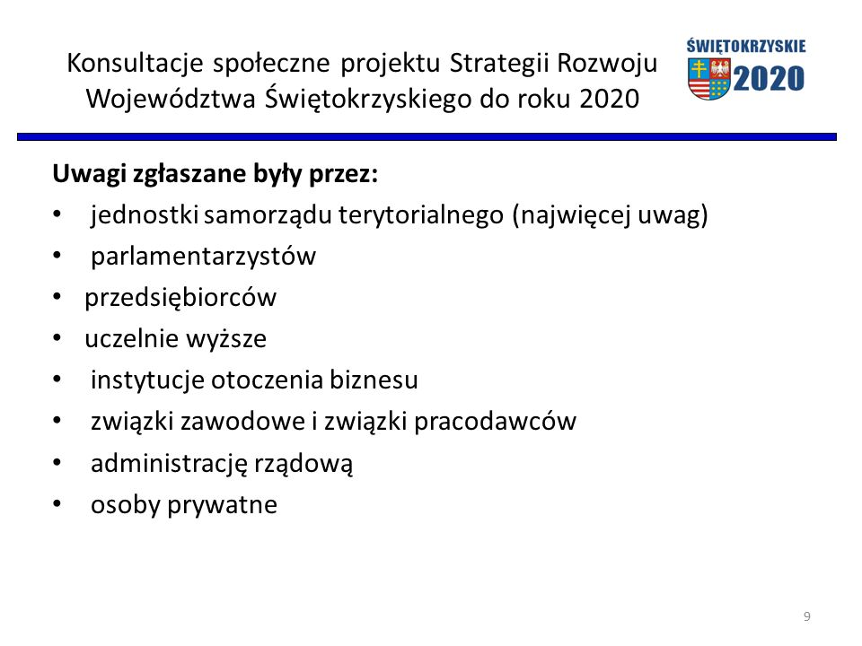 Konsultacje społeczne projektu Strategii Rozwoju Województwa Świętokrzyskiego do roku 2020 Uwagi zgłaszane były przez: jednostki samorządu terytorialnego (najwięcej uwag) parlamentarzystów przedsiębiorców uczelnie wyższe instytucje otoczenia biznesu związki zawodowe i związki pracodawców administrację rządową osoby prywatne 9