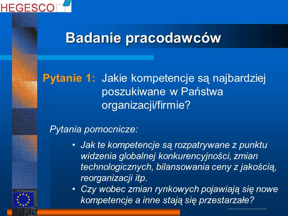 Pytanie 1: Jakie kompetencje są najbardziej poszukiwane w Państwa organizacji/firmie? Pytania pomocnicze: Jak te kompetencje są rozpatrywane z punktu