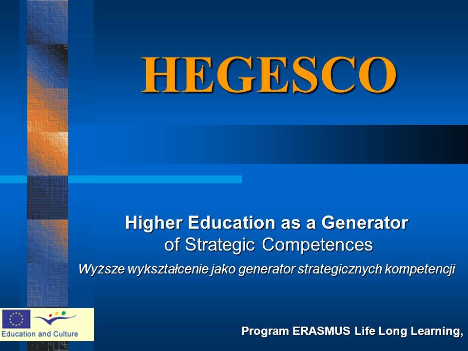 HEGESCO Higher Education as a Generator of Strategic Competences of Strategic Competences Wyższe wykształcenie jako generator strategicznych kompetencji Program ERASMUS Life Long Learning,