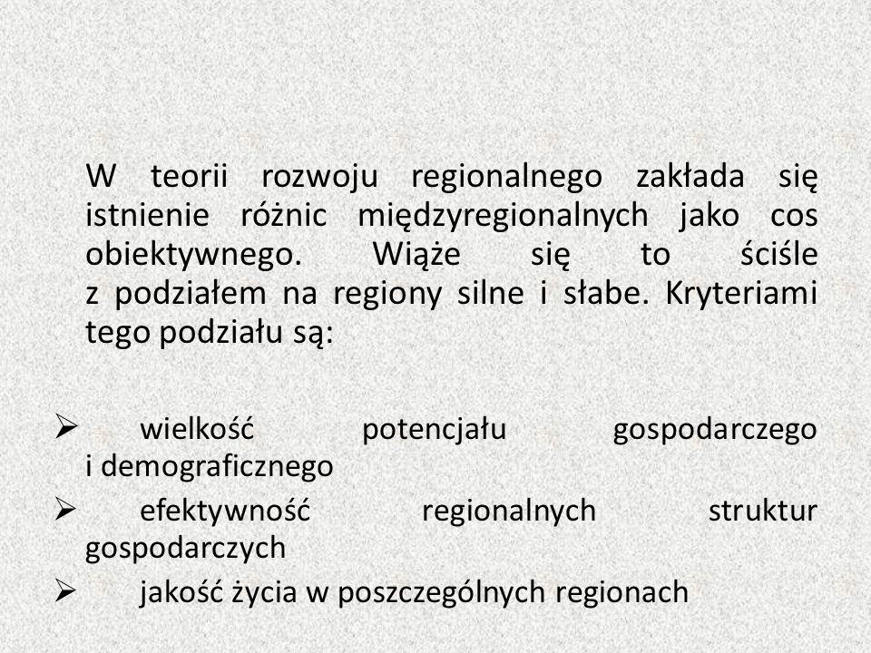 W teorii rozwoju regionalnego zakłada się istnienie różnic międzyregionalnych jako cos obiektywnego. Wiąże się to ściśle z podziałem na regiony silne