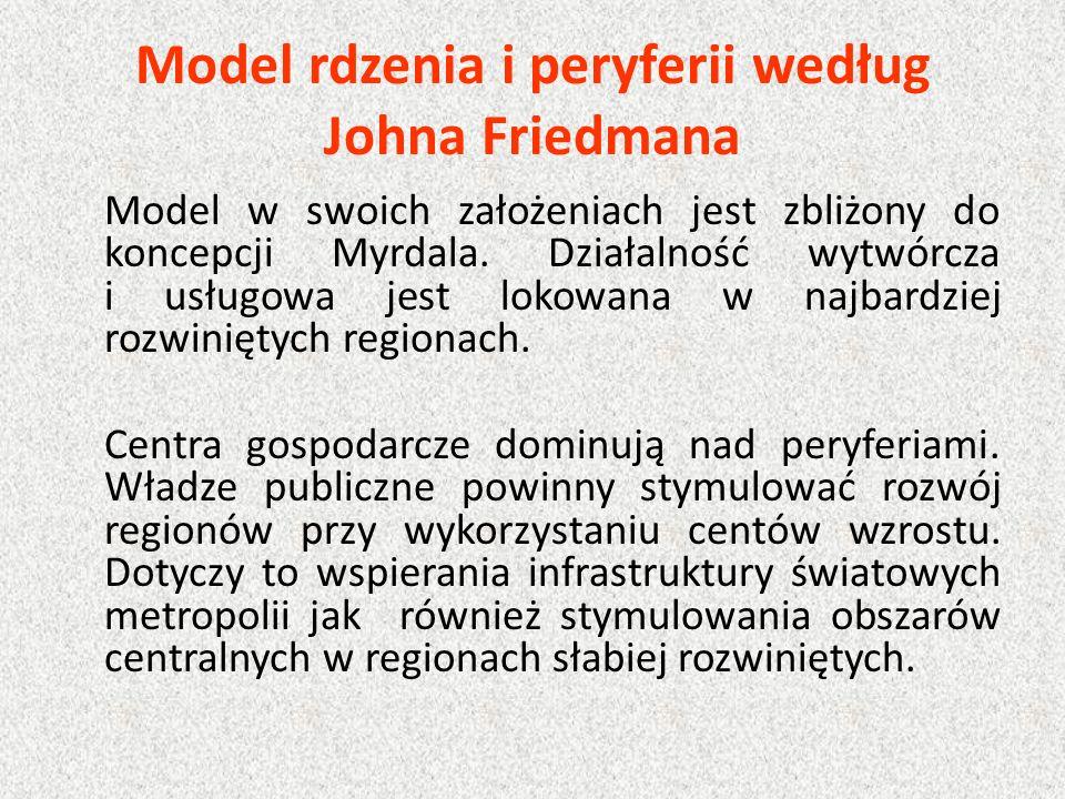 Model rdzenia i peryferii według Johna Friedmana Model w swoich założeniach jest zbliżony do koncepcji Myrdala. Działalność wytwórcza i usługowa jest