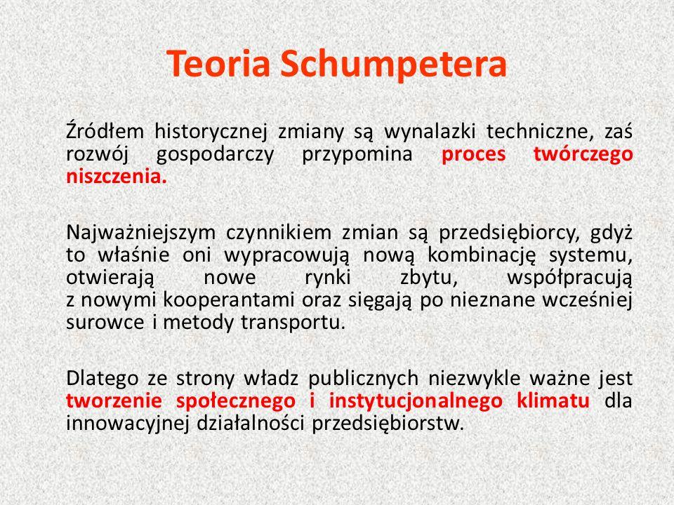 Teoria Schumpetera Źródłem historycznej zmiany są wynalazki techniczne, zaś rozwój gospodarczy przypomina proces twórczego niszczenia. Najważniejszym