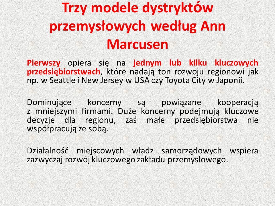 Trzy modele dystrykt ó w przemysłowych według Ann Marcusen Pierwszy opiera się na jednym lub kilku kluczowych przedsiębiorstwach, które nadają ton roz