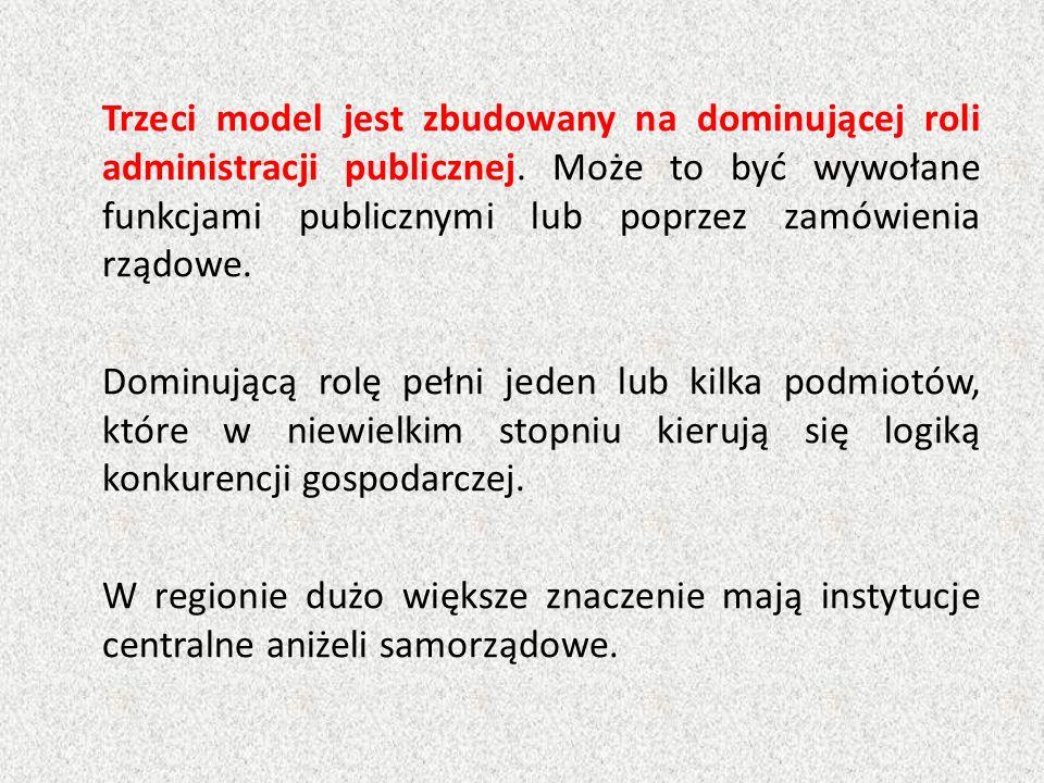 Trzeci model jest zbudowany na dominującej roli administracji publicznej. Może to być wywołane funkcjami publicznymi lub poprzez zamówienia rządowe. D