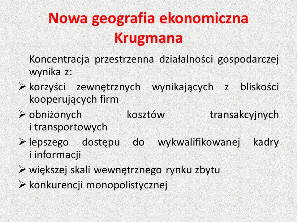 Nowa geografia ekonomiczna Krugmana Koncentracja przestrzenna działalności gospodarczej wynika z:  korzyści zewnętrznych wynikających z bliskości koo