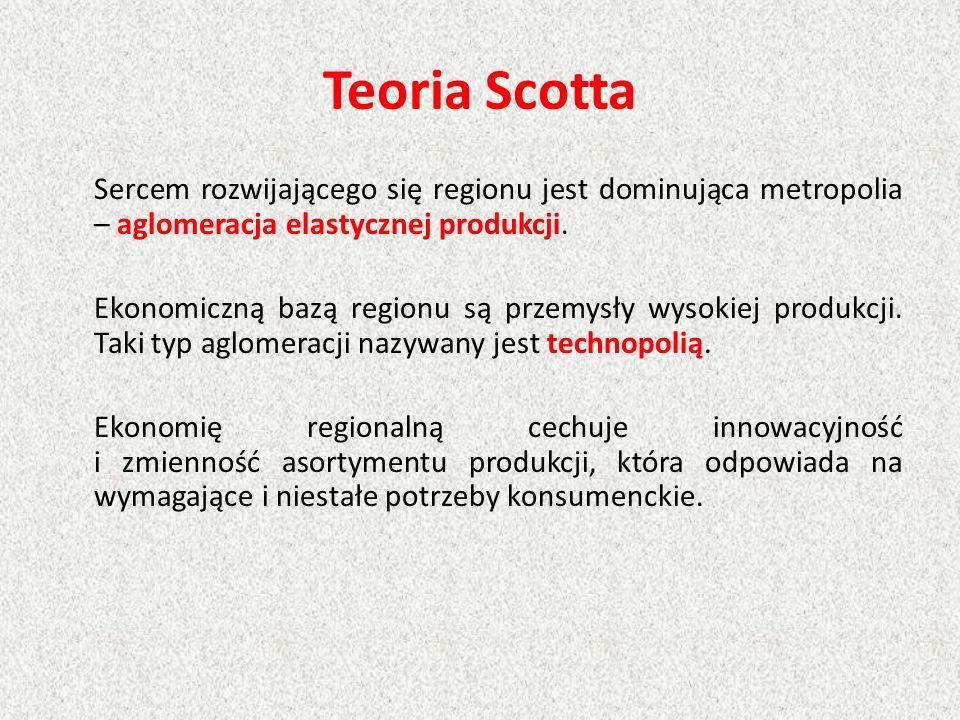 Teoria Scotta Sercem rozwijającego się regionu jest dominująca metropolia – aglomeracja elastycznej produkcji. Ekonomiczną bazą regionu są przemysły w