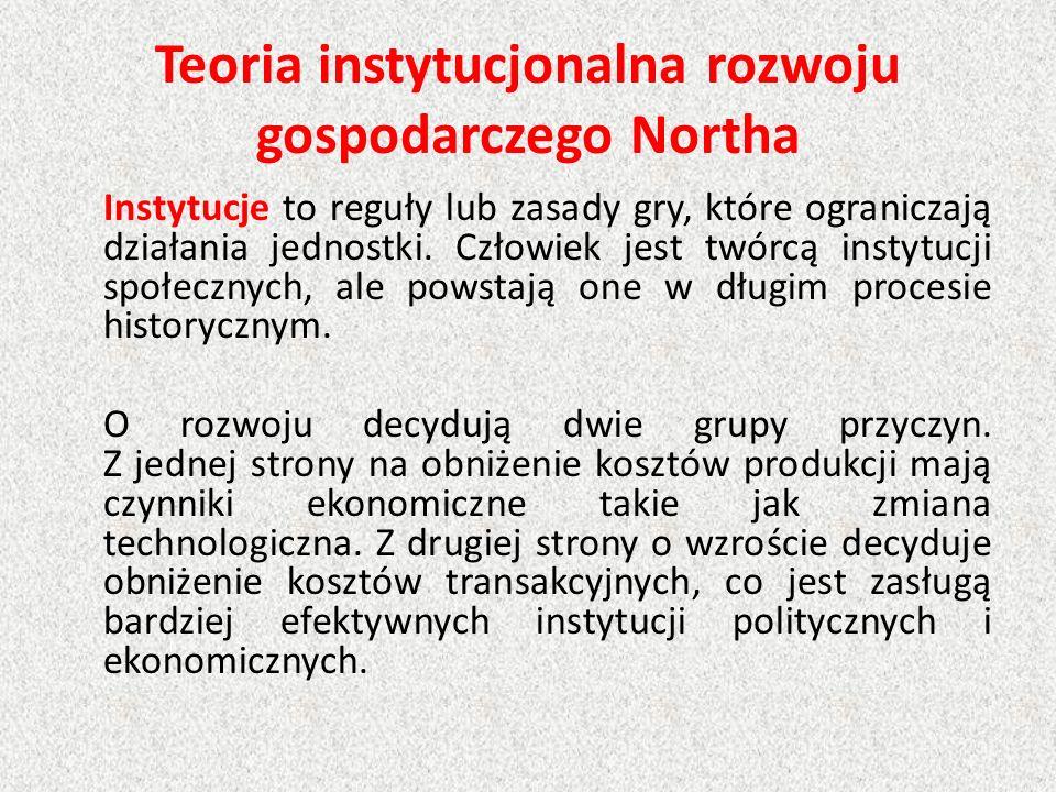 Teoria instytucjonalna rozwoju gospodarczego Northa Instytucje to reguły lub zasady gry, które ograniczają działania jednostki. Człowiek jest twórcą i