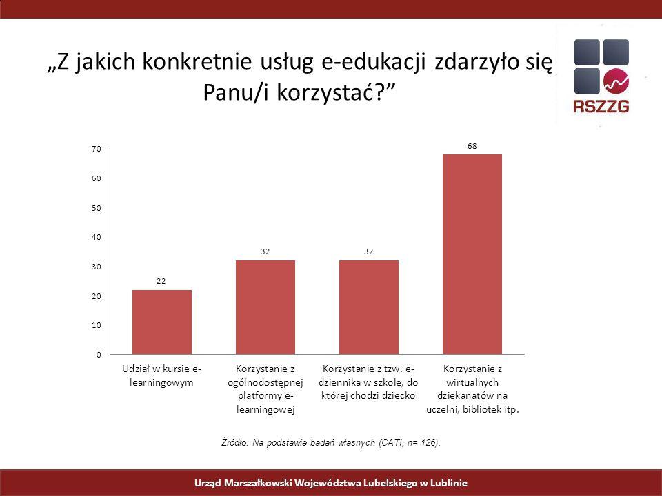 """Urząd Marszałkowski Województwa Lubelskiego w Lublinie """"Z jakich konkretnie usług e-edukacji zdarzyło się Panu/i korzystać Źródło: Na podstawie badań własnych (CATI, n= 126)."""