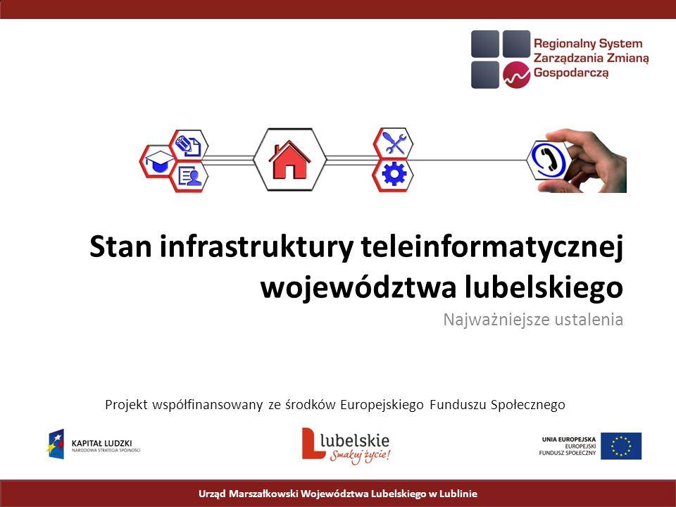 Stan infrastruktury teleinformatycznej województwa lubelskiego Najważniejsze ustalenia Urząd Marszałkowski Województwa Lubelskiego w Lublinie Projekt współfinansowany ze środków Europejskiego Funduszu Społecznego