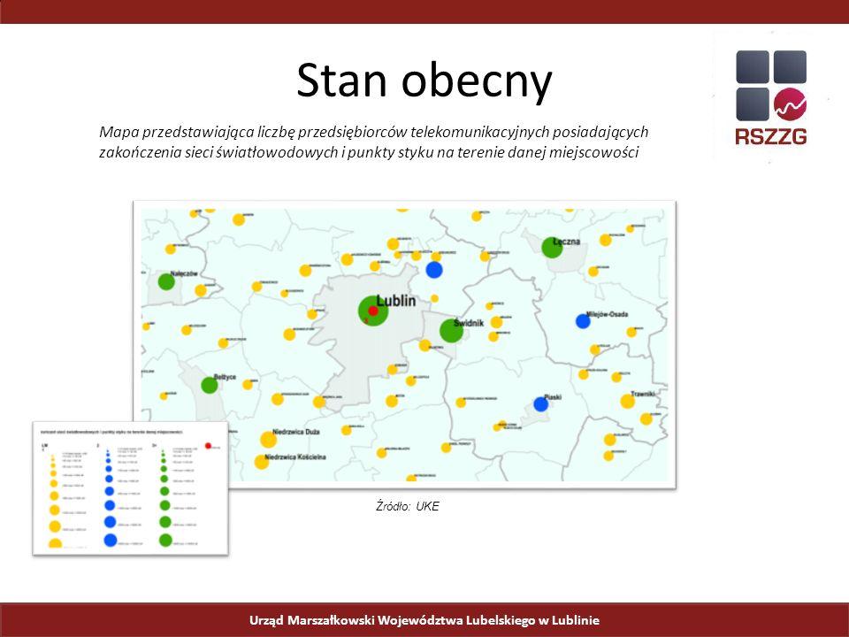 Urząd Marszałkowski Województwa Lubelskiego w Lublinie Stan obecny Mapa przedstawiająca liczbę przedsiębiorców telekomunikacyjnych posiadających zakończenia sieci światłowodowych i punkty styku na terenie danej miejscowości Źródło: UKE