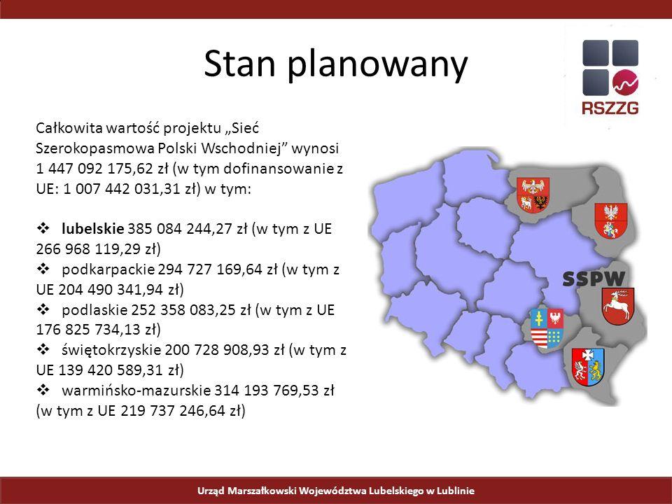 """Urząd Marszałkowski Województwa Lubelskiego w Lublinie Stan planowany Całkowita wartość projektu """"Sieć Szerokopasmowa Polski Wschodniej wynosi 1 447 092 175,62 zł (w tym dofinansowanie z UE: 1 007 442 031,31 zł) w tym:  lubelskie 385 084 244,27 zł (w tym z UE 266 968 119,29 zł)  podkarpackie 294 727 169,64 zł (w tym z UE 204 490 341,94 zł)  podlaskie 252 358 083,25 zł (w tym z UE 176 825 734,13 zł)  świętokrzyskie 200 728 908,93 zł (w tym z UE 139 420 589,31 zł)  warmińsko-mazurskie 314 193 769,53 zł (w tym z UE 219 737 246,64 zł)"""