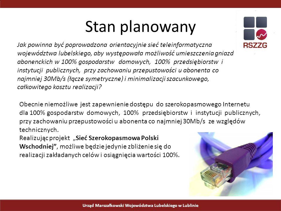 Urząd Marszałkowski Województwa Lubelskiego w Lublinie Stan planowany Jak powinna być poprowadzona orientacyjnie sieć teleinformatyczna województwa lubelskiego, aby występowała możliwość umieszczenia gniazd abonenckich w 100% gospodarstw domowych, 100% przedsiębiorstw i instytucji publicznych, przy zachowaniu przepustowości u abonenta co najmniej 30Mb/s (łącze symetryczne) i minimalizacji szacunkowego, całkowitego kosztu realizacji.