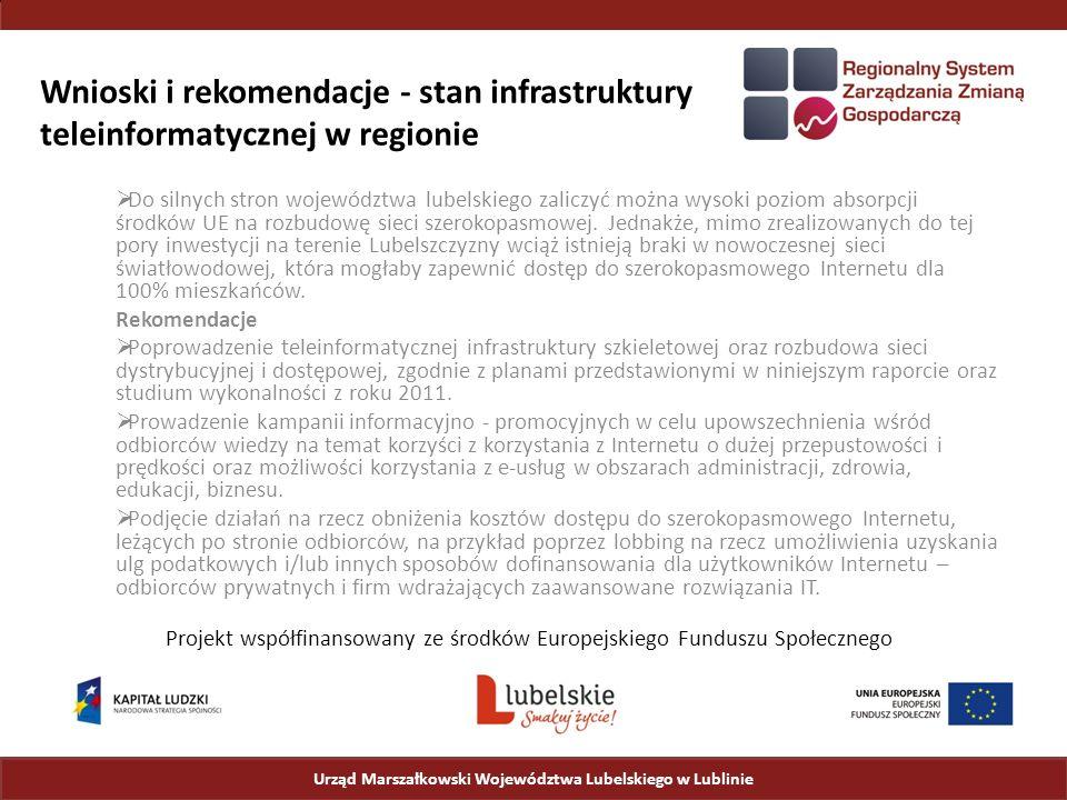 Wnioski i rekomendacje - stan infrastruktury teleinformatycznej w regionie  Do silnych stron województwa lubelskiego zaliczyć można wysoki poziom absorpcji środków UE na rozbudowę sieci szerokopasmowej.