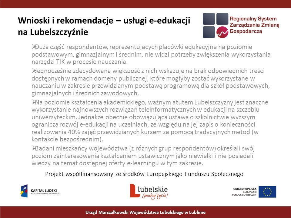 Wnioski i rekomendacje – usługi e-edukacji na Lubelszczyźnie  Duża część respondentów, reprezentujących placówki edukacyjne na poziomie podstawowym, gimnazjalnym i średnim, nie widzi potrzeby zwiększenia wykorzystania narzędzi TIK w procesie nauczania.