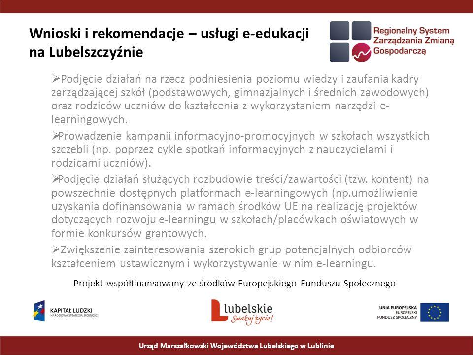 Wnioski i rekomendacje – usługi e-edukacji na Lubelszczyźnie  Podjęcie działań na rzecz podniesienia poziomu wiedzy i zaufania kadry zarządzającej szkół (podstawowych, gimnazjalnych i średnich zawodowych) oraz rodziców uczniów do kształcenia z wykorzystaniem narzędzi e- learningowych.