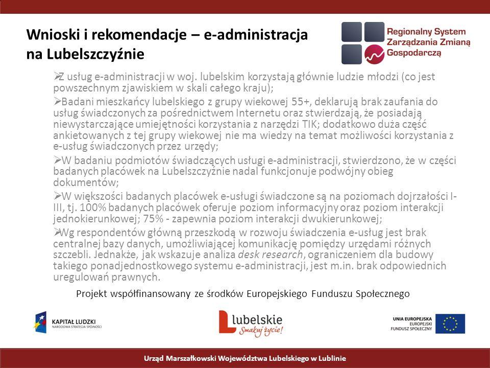 Wnioski i rekomendacje – e-administracja na Lubelszczyźnie  Z usług e-administracji w woj.