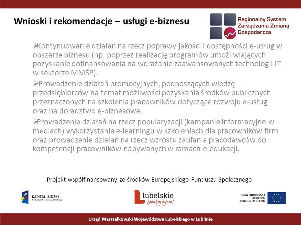 Wnioski i rekomendacje – usługi e-biznesu  Kontynuowanie działań na rzecz poprawy jakości i dostępności e-usług w obszarze biznesu (np.