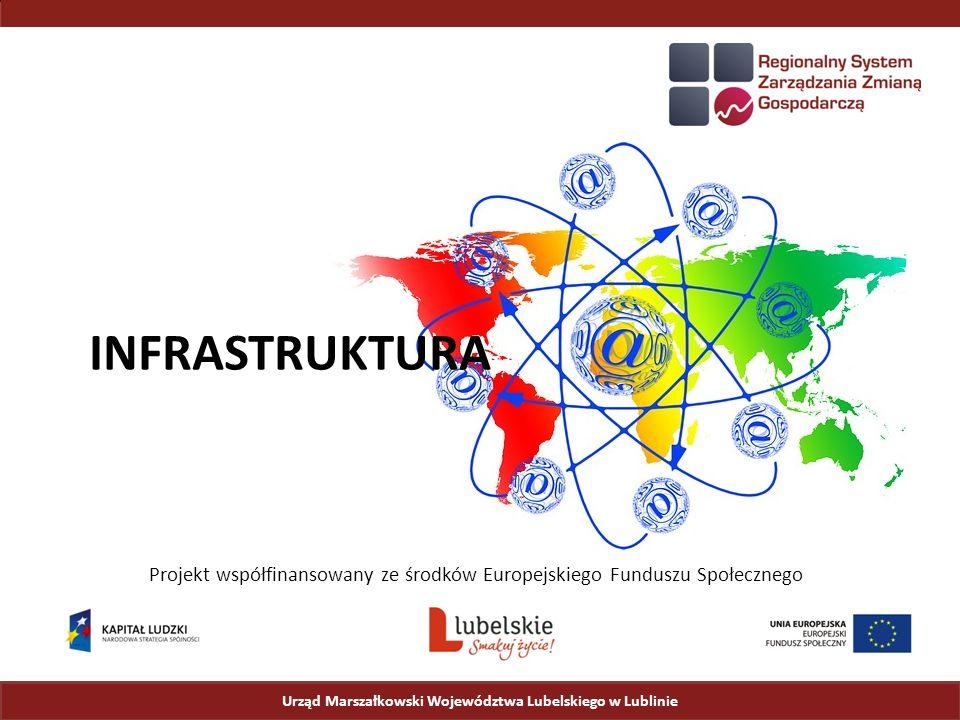 Urząd Marszałkowski Województwa Lubelskiego w Lublinie Stan planowany Proponowany przebieg sieci teleinformatycznej:  2 pierścienie o łącznej długości 998 km, zbudowane w oparciu o:  14 obszarów inwestycyjnych (zaznaczonych kolorami);  14 węzłów szkieletowych, w tym:  2 węzły z łączem skrośnym (zamykającym dodatkowy pierścień),  2 węzły IXP z punktem wymiany ruchu z dostawcami Internetu,  3 punkt styku z siecią SSPW w sąsiednim województwie;  3 łącze międzywojewódzkie łączące sieć SSPW w województwie lubelskim z sieciami w województwach świętokrzyskim, podkarpackim oraz podlaskim.