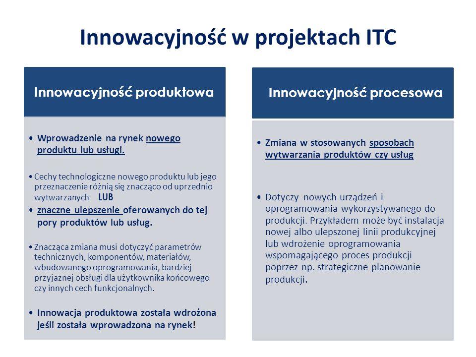 Innowacyjność w projektach ITC Innowacyjność produktowa Wprowadzenie na rynek nowego produktu lub usługi.