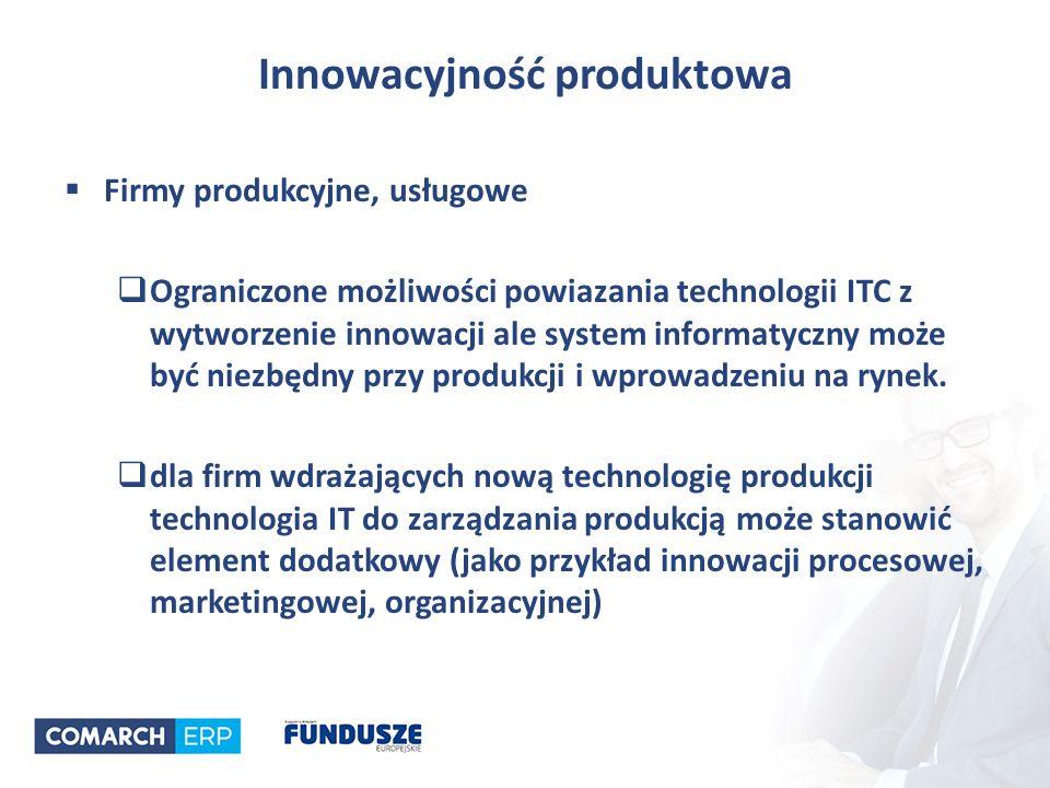 Innowacyjność produktowa  Firmy produkcyjne, usługowe  Ograniczone możliwości powiazania technologii ITC z wytworzenie innowacji ale system informatyczny może być niezbędny przy produkcji i wprowadzeniu na rynek.