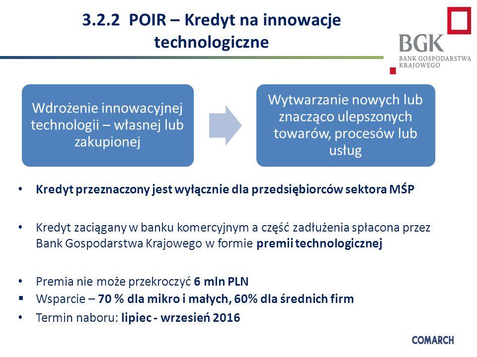 3.2.2 POIR – Kredyt na innowacje technologiczne Kredyt przeznaczony jest wyłącznie dla przedsiębiorców sektora MŚP Kredyt zaciągany w banku komercyjnym a część zadłużenia spłacona przez Bank Gospodarstwa Krajowego w formie premii technologicznej Premia nie może przekroczyć 6 mln PLN  Wsparcie – 70 % dla mikro i małych, 60% dla średnich firm Termin naboru: lipiec - wrzesień 2016 Wdrożenie innowacyjnej technologii – własnej lub zakupionej Wytwarzanie nowych lub znacząco ulepszonych towarów, procesów lub usług