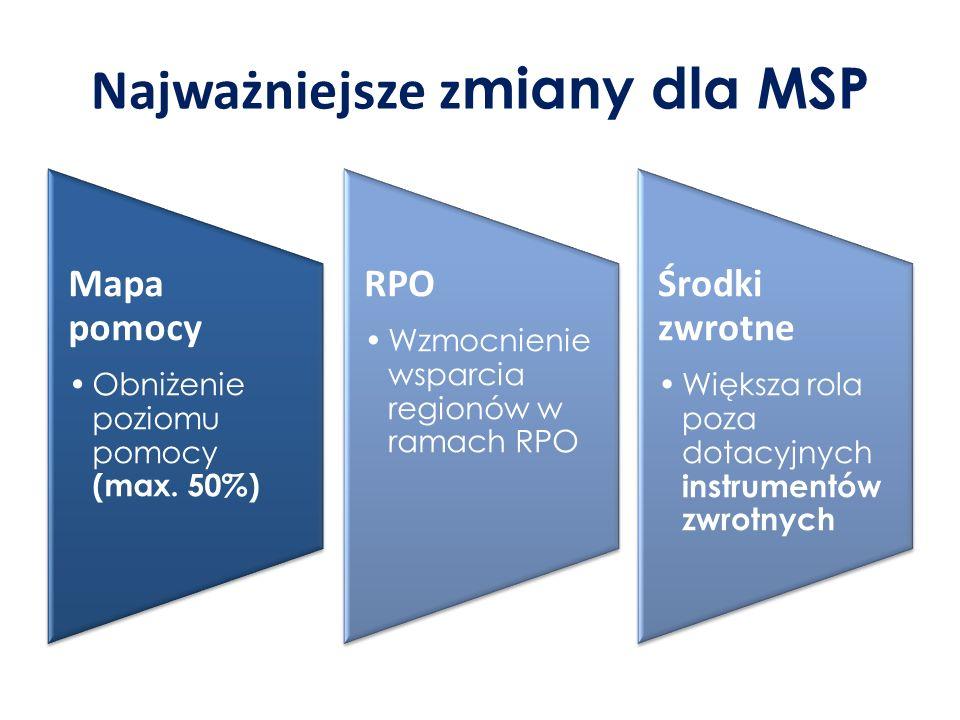 Najważniejsze z miany dla MSP Mapa pomocy Obniżenie poziomu pomocy (max.