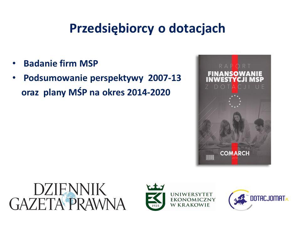 Przedsiębiorcy o dotacjach Badanie firm MSP Podsumowanie perspektywy 2007-13 oraz plany MŚP na okres 2014-2020