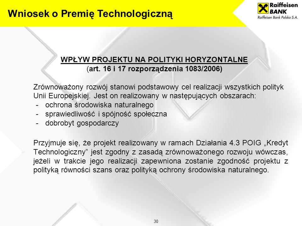 30 WPŁYW PROJEKTU NA POLITYKI HORYZONTALNE (art.