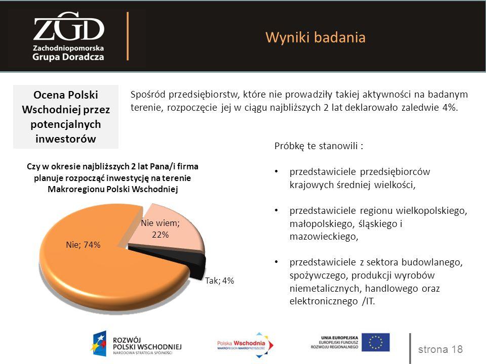 strona 18 Wyniki badania Ocena Polski Wschodniej przez potencjalnych inwestorów Spośród przedsiębiorstw, które nie prowadziły takiej aktywności na badanym terenie, rozpoczęcie jej w ciągu najbliższych 2 lat deklarowało zaledwie 4%.